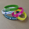 Standard width silicone wristbands (12mm wide) with custom logo image