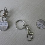 Metal trolley coin keychain Ø25mm with bespoke print image